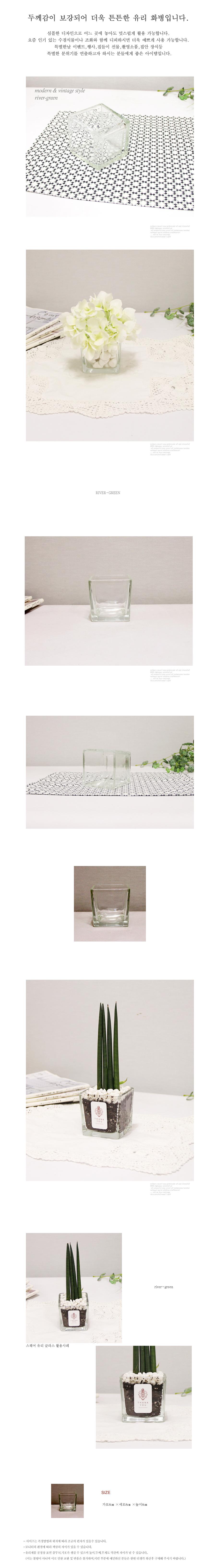 스퀘어 유리화병-8x8x8 - 리버그린, 3,000원, 화병/수반, 유리화병