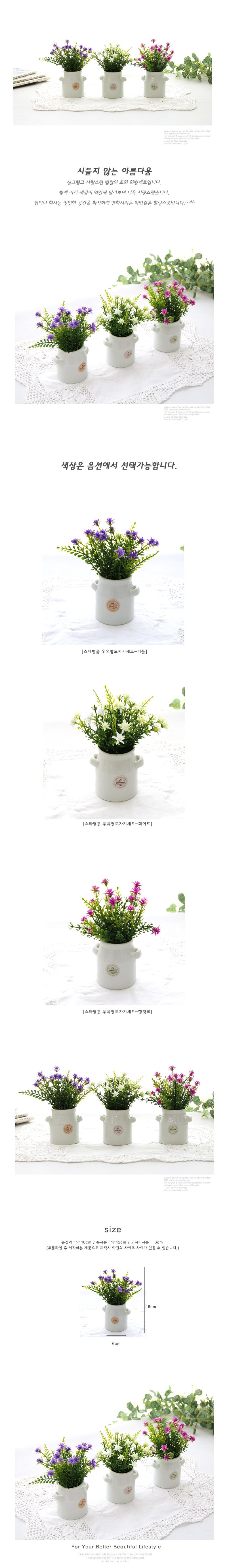 스타별꽃 우유병도자기세트-3color - 리버그린, 5,900원, 화병/수반, 기타화병
