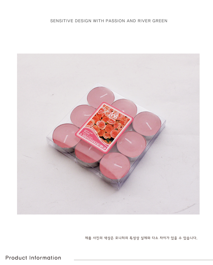 티라이트 캔들-로즈향 - 리버그린, 2,600원, 캔들, 티라이트 캔들